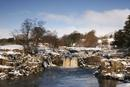 3983 Low Force Waterfall in Winter, River Tees, Teesdale, County Durham.